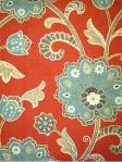 ANKARA SCARLET  55% Linen 45% Rayon Jacobean floral fabric. Multi purpose. $31.95 per yard