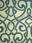 VANESSA TEAL Soft chenille scroll pattern. 53% rayon, 47% poly. $29.95 per yard