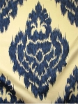 KALAH BLUE Duralee Ikat Print Fabric. 100% Pima Cotton Sateen. Duraguard finish.  $31.95 per yard