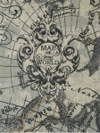NAVIGATOR CHARCOAL Old World global nautical map fabric. Multi purpose 55% Linen, 45% Viscose. $28.95 per yard